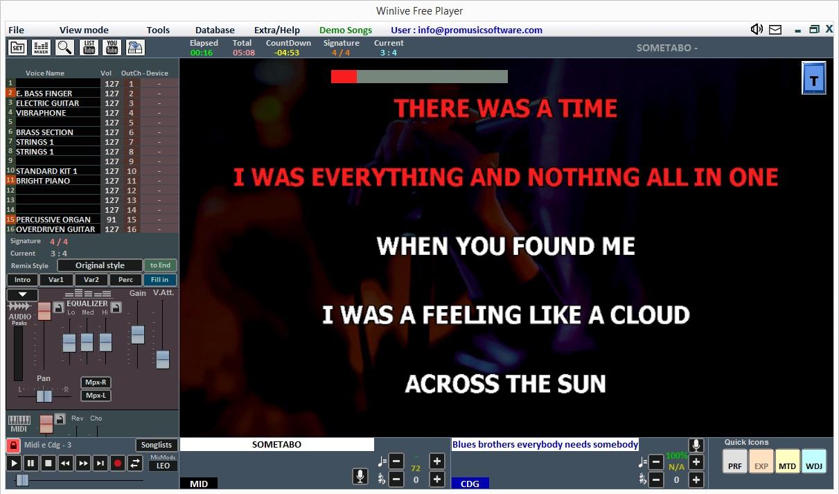 Promusicsoftware Winlive Free Player - Software Karaoke